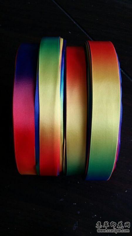 供应印花包装带彩虹七彩礼品带
