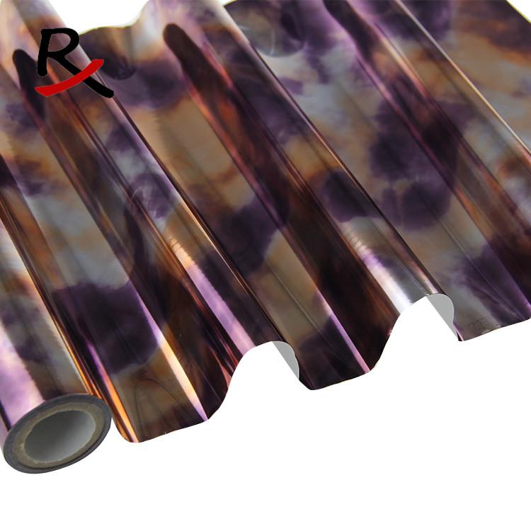 抽象画紫窗帘转印膜烫金纸毛衣转移膜牛仔短裤热转印花膜材料厂家