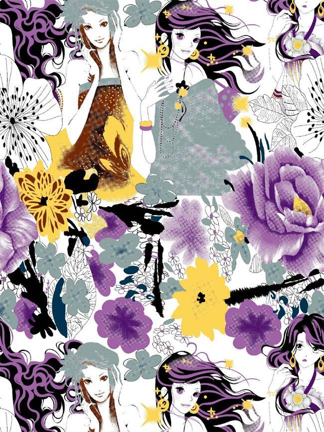 各种个性时尚花型热转移印花(适用于个性T恤印花,包包印花)