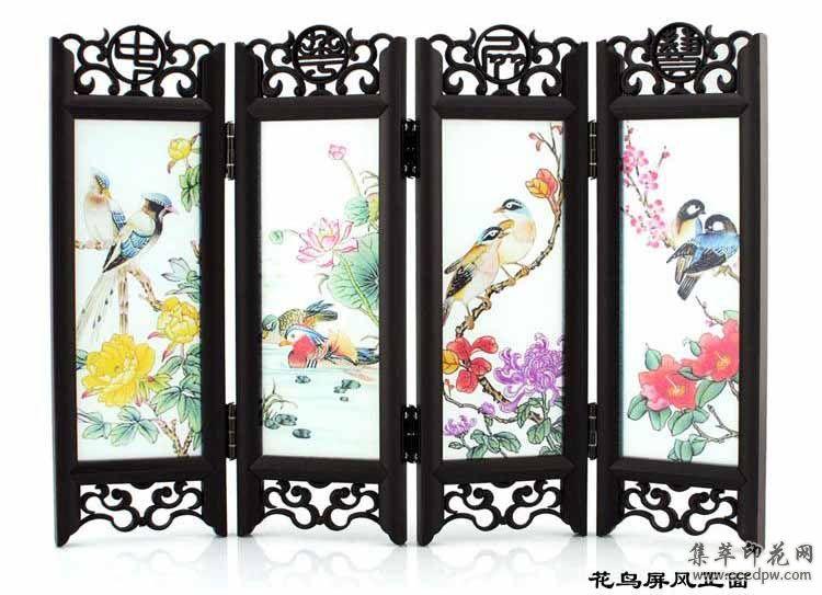屏风玻璃浮雕彩绘印花