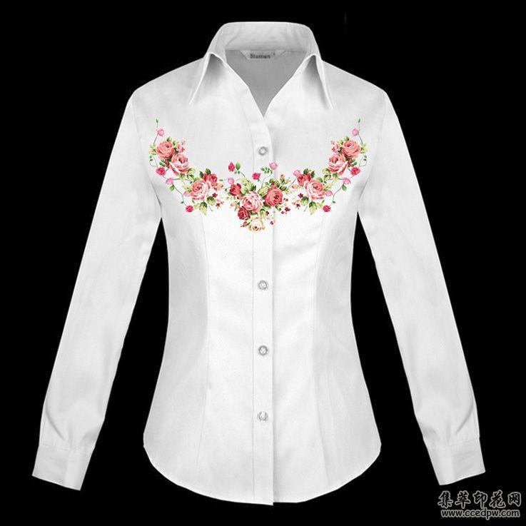 棉麻衬衫数码直喷印花 时尚女衬衫印花 精品女装印花