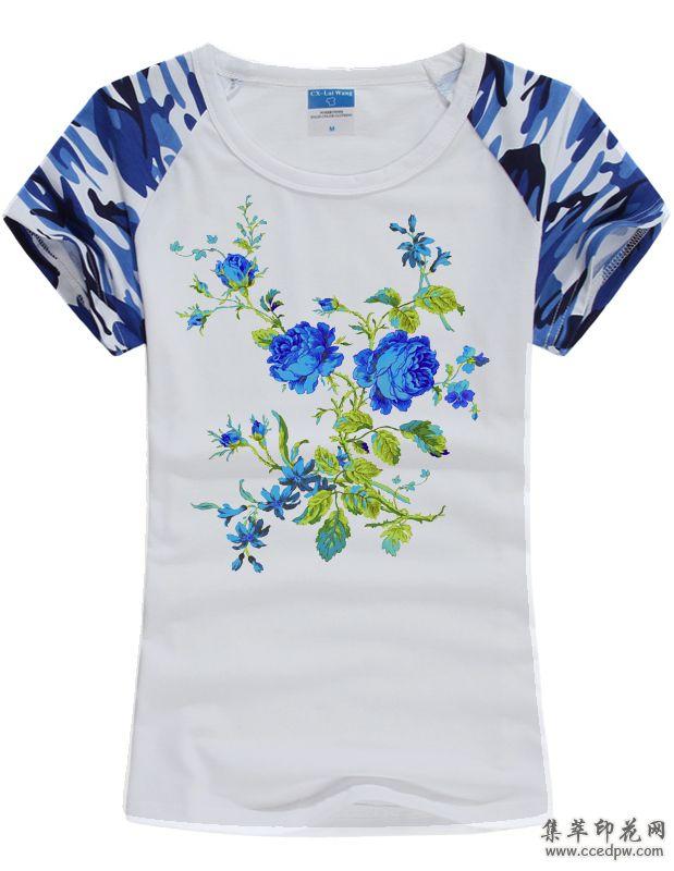 棉麻T恤数码直喷印花 时尚女衬衫印花 精品女装印花
