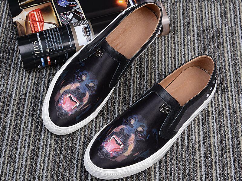 黑色真皮鞋子UV3D彩印加工/纪梵希小鹿狗头UV彩绘加工