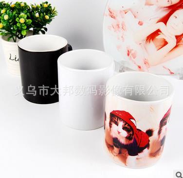 热转印杯子批发白杯涂层杯马克杯影像杯变色杯批发心形情侣把白杯