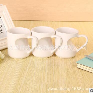 热转印杯子批发涂层杯马克杯影像DIY印像变色杯批发桃心形把白