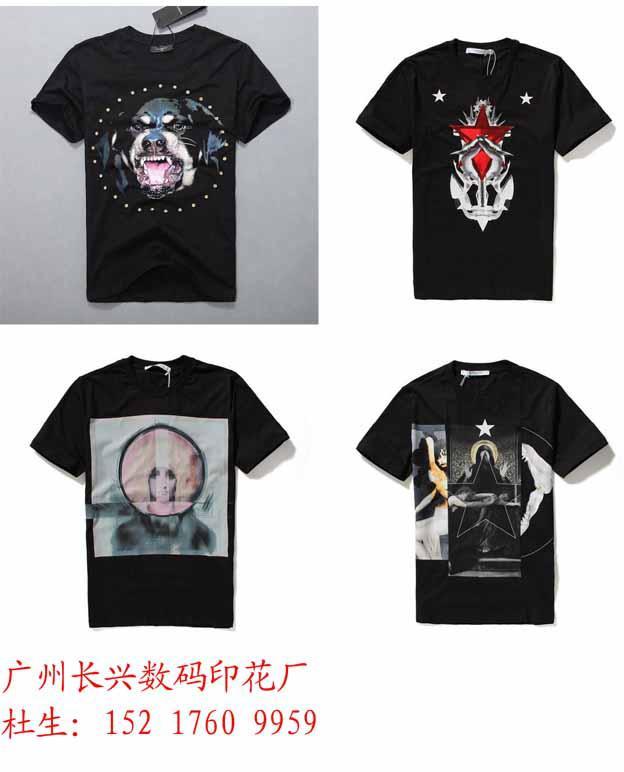 广州黑色T恤数码直喷印花加工/黑色面料数码直喷彩印加工