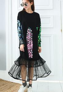 時髦穿法:印花蕾絲長裙