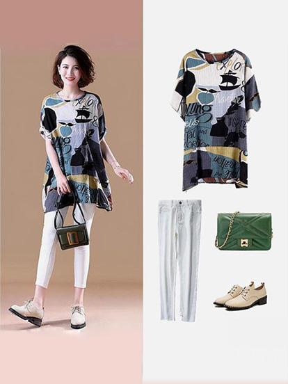 时尚印花妈妈衫,优雅大方又减龄